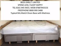 New. King-Size Pocket-Sprung Mattress by Airsprung with a Silentnight Drawer Divan Base.