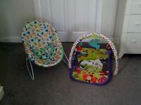 Fisher Price playmat and Bright Start bouncer chair excellent condition
