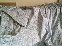 Blue pencil pleat long curtains
