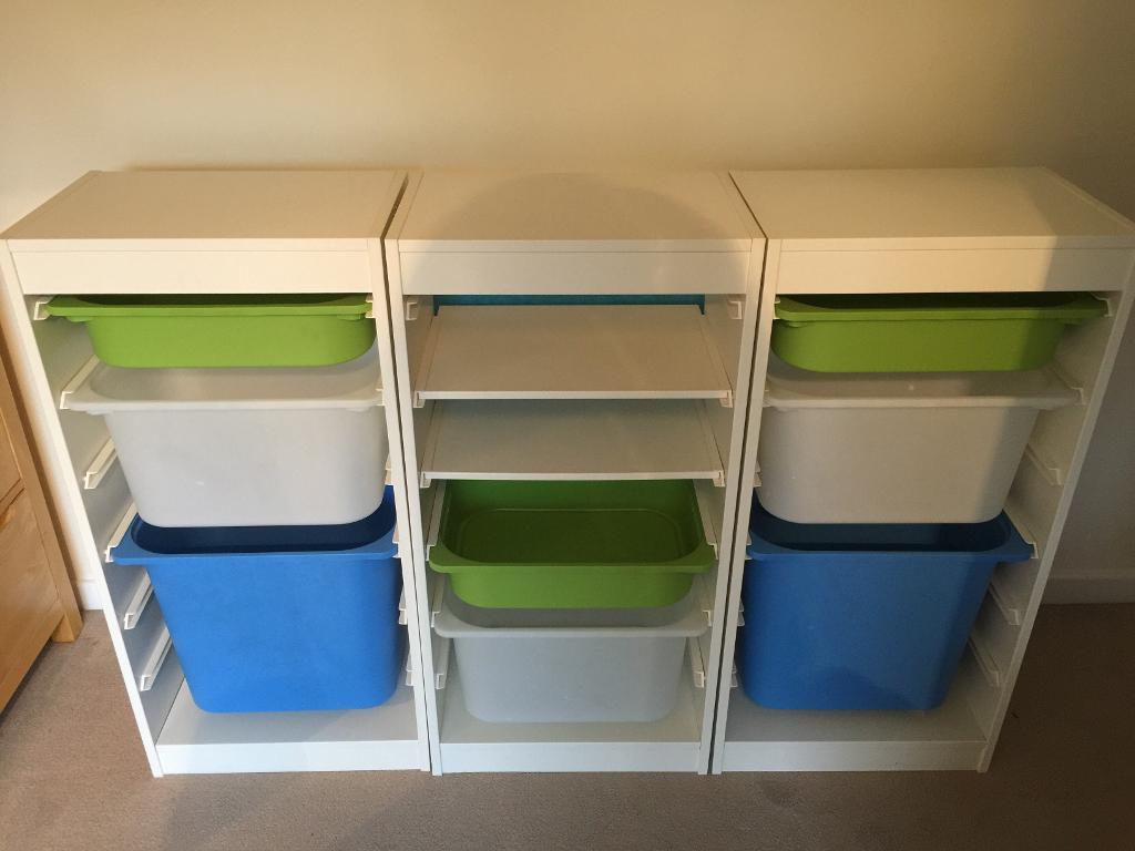 set of 3 x white ikea trofast children 39 s storage with. Black Bedroom Furniture Sets. Home Design Ideas