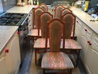 Hardwood and fabric chairs x7
