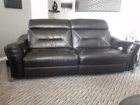 Black Italian leather three piece suite