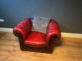 Ox Blood Red Leather Arm Chair
