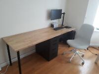 Solid oak top double desk, includes Ikea Alex black unit and 4 Adils legs