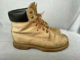 Timberland classic beige suede waterproof builders boots, size 9, rrp £180