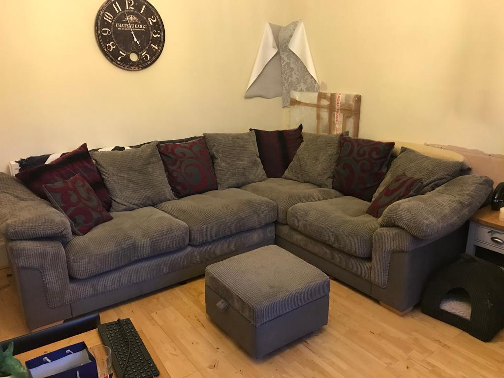Sofa bed, chair and footstool
