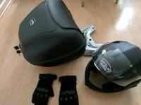 New top box and rack for Aprilia, Piaggio, summer gloves and flip-up helmet, both size M