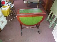 Small Leather Top Drop Leaf Table