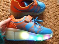 XDH POP Unisex Blue Heelys LED light up wheels on heels Roller shoes skater