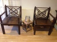 Pair of Vintage Memorial Celebrant Chapel Rectory Chairs