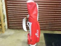 golf bag (Howson) & set of Left Handed clubs Nos. 2,3,4,6,8,9 +putter. good condition.