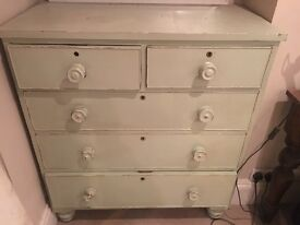 Victorian chest of drawers painted in 'Antique Green'