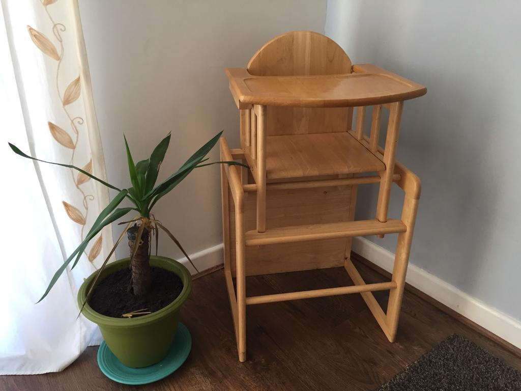 Child S Wooden High Chair Turns Into Desk Table Kids