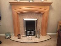 Fire Surround, Marble Back & Hearth with Balanced Flu Gas Fire
