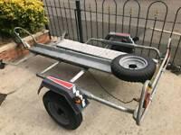 Erde galvanised motorbike trailer with heavy duty ramp and brand new spare wheel