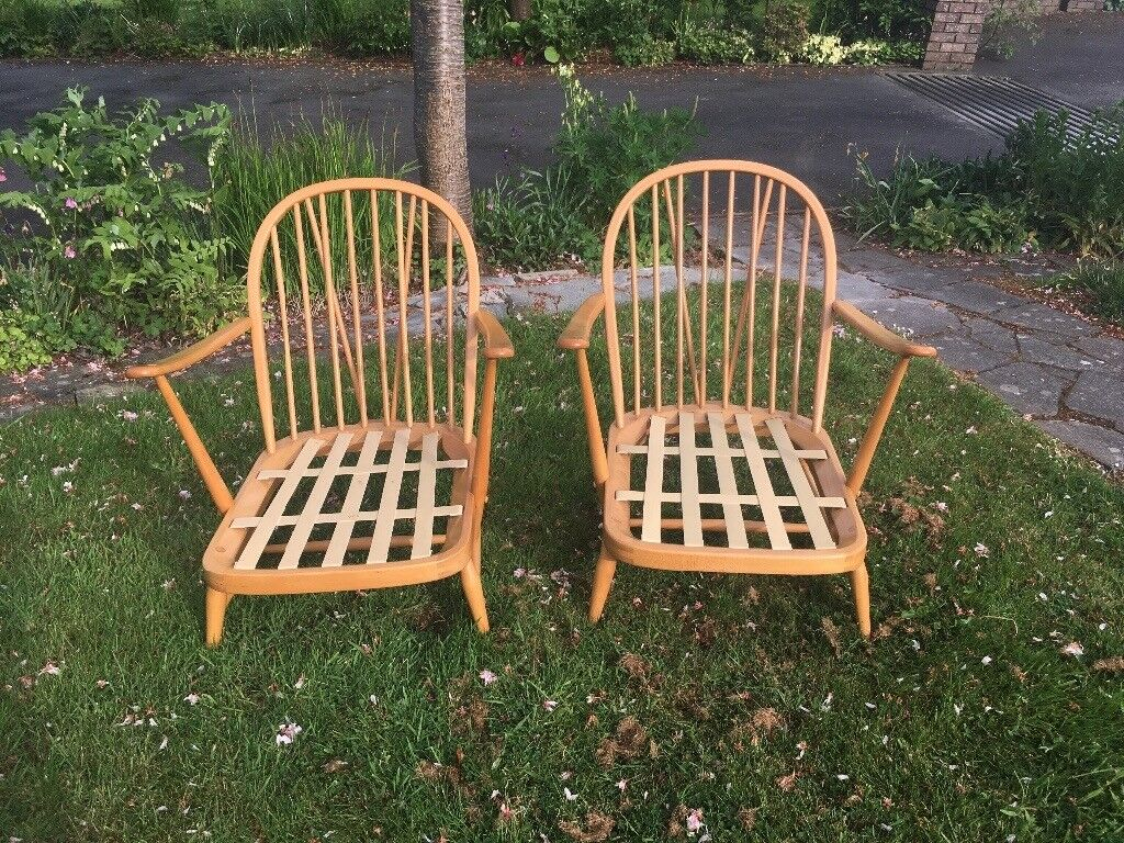 Ercol Pair of Armchairs - Blonde Windsor