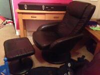 2 x reclining, massaging chairs and footstools