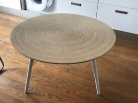 Habitat circle coffee table in light wood/white