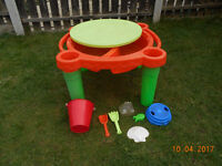 sandpit on legs with lid and toys