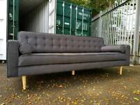 NEW Modern Retro Scandinavian Charcoal Grey 4 Seater Sofa Button Design DELIVERY AVAILABLE