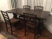 Solid Oak refectory dining table and four chairs