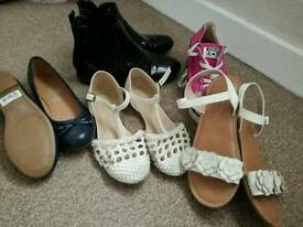 Size 4 girls shoes, converse, sandals, boots