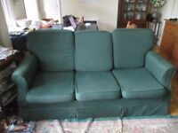 3 seater bed settee. Loose seat and back cushions. Good quality mattress hardly used.