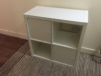 IKEA white shelving cube with 2 doors, excellent condition