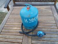 Camping Gaz cylinder (empty) with regulator and hose