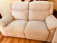 Two seater sofa and two arm chairs - manual recliners