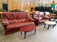 Red leather wooden framed three piece suite (3+2+1)