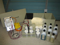ELECTROPLATING UNIT…WITH GOLD, SILVER, NICKEL PLATING SOLUTIONS ETC...PORTABLE WITH CASE AND MANUAL.