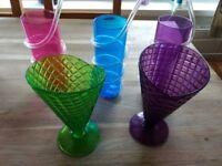 5 colored plastic glasses