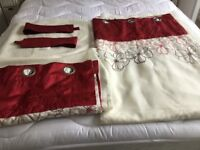 CREAM AND RED LINED VOILE CURTAINS