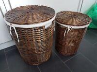 2 large wicker laundry/storage baskets