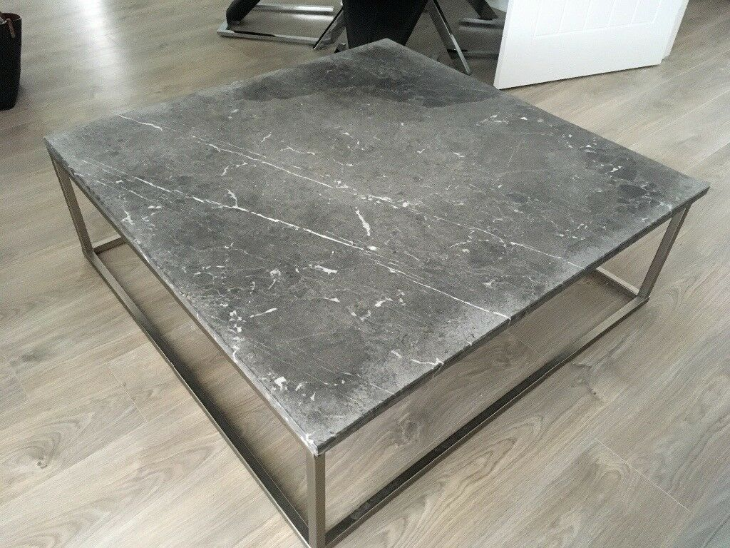 Grey Slate Marble Effect Coffee Table