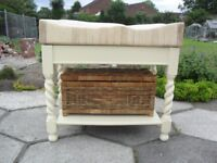 Shabby Chic Farmhouse Country GENUINE BUTCHERS BLOCK With FREE BASKET In Farrow & Ball Cream No 67
