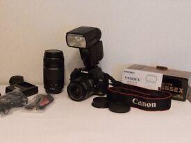 Canon 500d DSLR, camera plus 2 x lenses and speedlite YN565EX