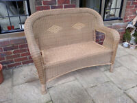 Wicker Style Two Seater Outdoor Bench