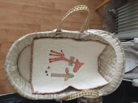 Mamas and papas Moses Basket with Rocking Stand Plus one extra mattress Plus Brand new blanket free