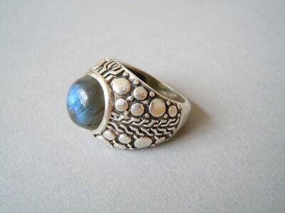 Großer Ring mit Labradorit Halbkugel & Muster 925 Silber 11,2 g/RG 57