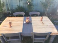 Solid Wood Dining Table & 6 Padded Chairs