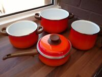 A set of four vintage enamelled saucepans / cooking pots from the 1970s