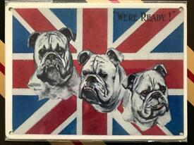 Original metal wall sign - garage art bulldog