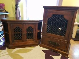 Matching pair of solid wood cabinets