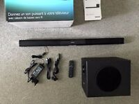 Philips Sound bar Speaker with Wireless Subwoofer bluetooth with box and documents HTL3140B