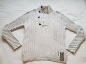 Men's River Island Ribbed Knit Button Pullover Jumper Sweater Ecru - Marl Stone Beige Size Medium