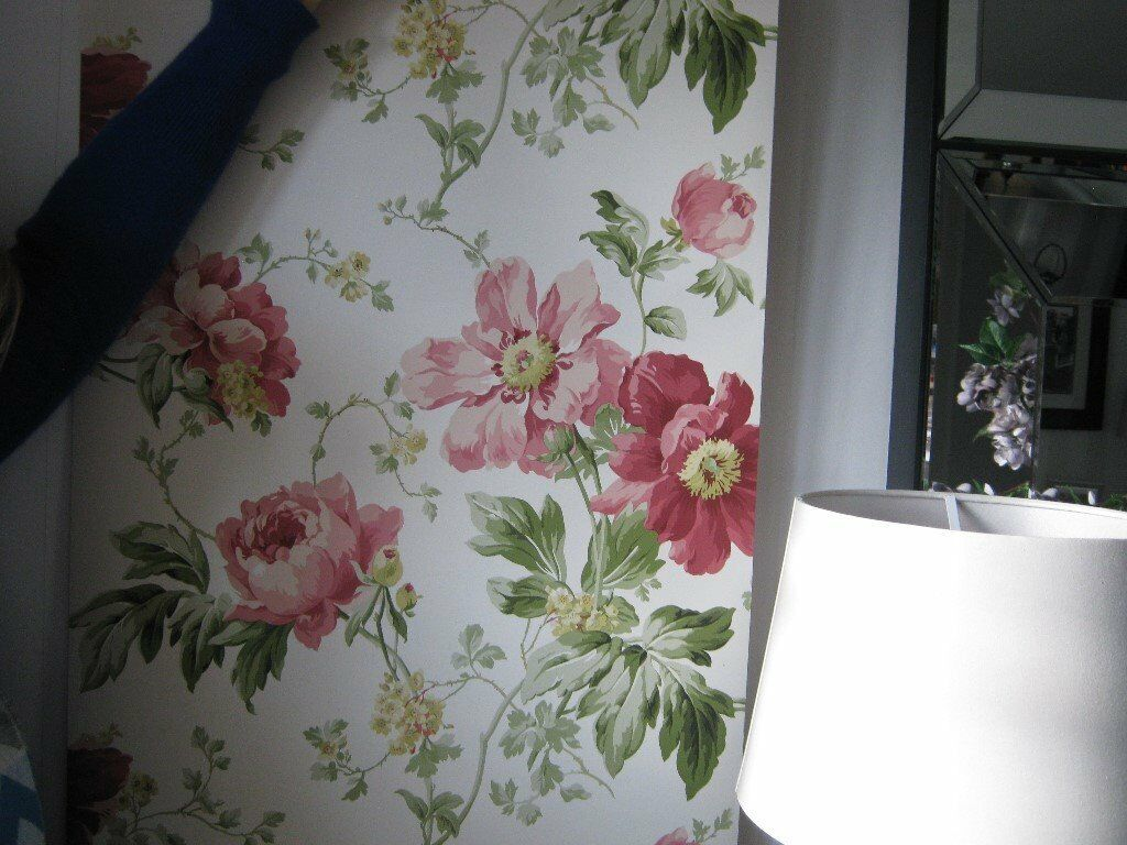 1 roll laura ashley wallpaper peony garden cranberry. Black Bedroom Furniture Sets. Home Design Ideas