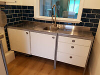 Ikea UDDEN stainless steel freestanding kitchen unit with drawers