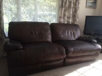Dark brown leather 3 seater electric reclining sofa